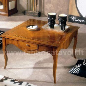 Tavolino salotto 700 intarsiato 85x85 for Tavolini da salotto rotondi